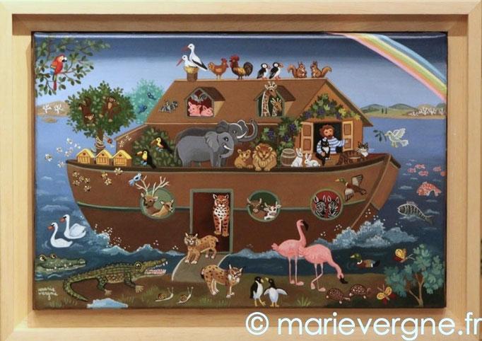 L'Arche de Noé - Acrylique - Format 33 x 22 - Vendu