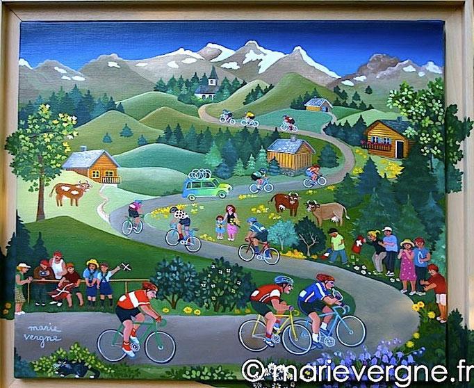 Le Tour de France - Acrylique - Format 55 x 46 - Prix sur demande