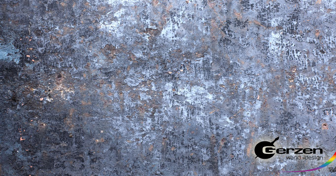 Patina Wand, Edelpatina, Patina-Effekt in Blau-silber von GERZEN wand-design