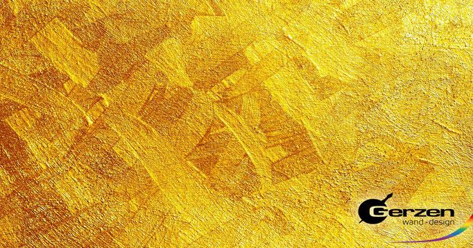 Santra - die Sonnengöttin - Wilder Streichputz in Gelb-Orange Tönen mit leichtem Vergoldungseffekt aus Unikatsammlung GERZEN wand-design