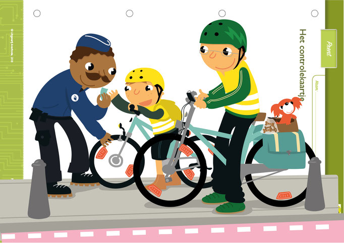 Traffic situation illustrations for Childrens magazine from publisher Averbode, (https://www.uitgeverijaverbode.be/Pub)