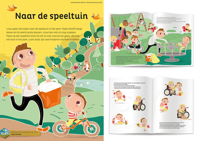 Illustrations for Uitgeverij Averbode for childrens magazine Doremi, 'To the playground'