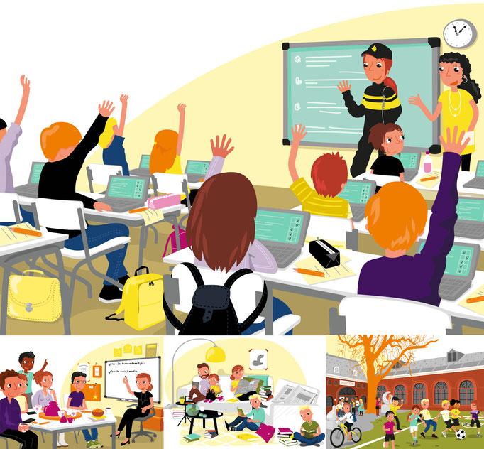 Geliujke Kansen Alliantie, illustrations for the Ministry of Education, culture an science. https://www.gelijke-kansen.nl/themas