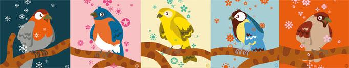 bird cards - free work
