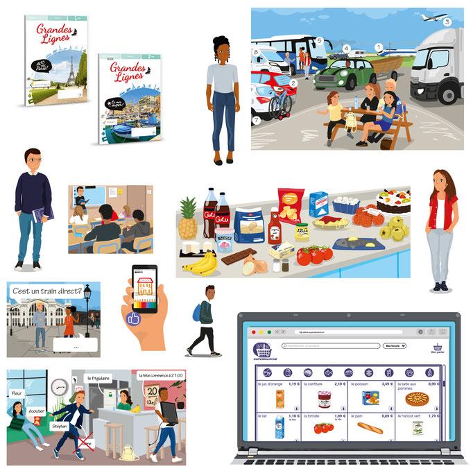 Many illustrations for the Frensh learning method Grand Lignes for Noordhoff Uitgevers