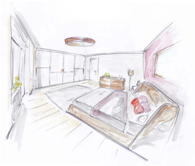 Schlafzimmer Planung, Rolf Kullmann Innenarchitekt, Atelier Feynsinn, Köln