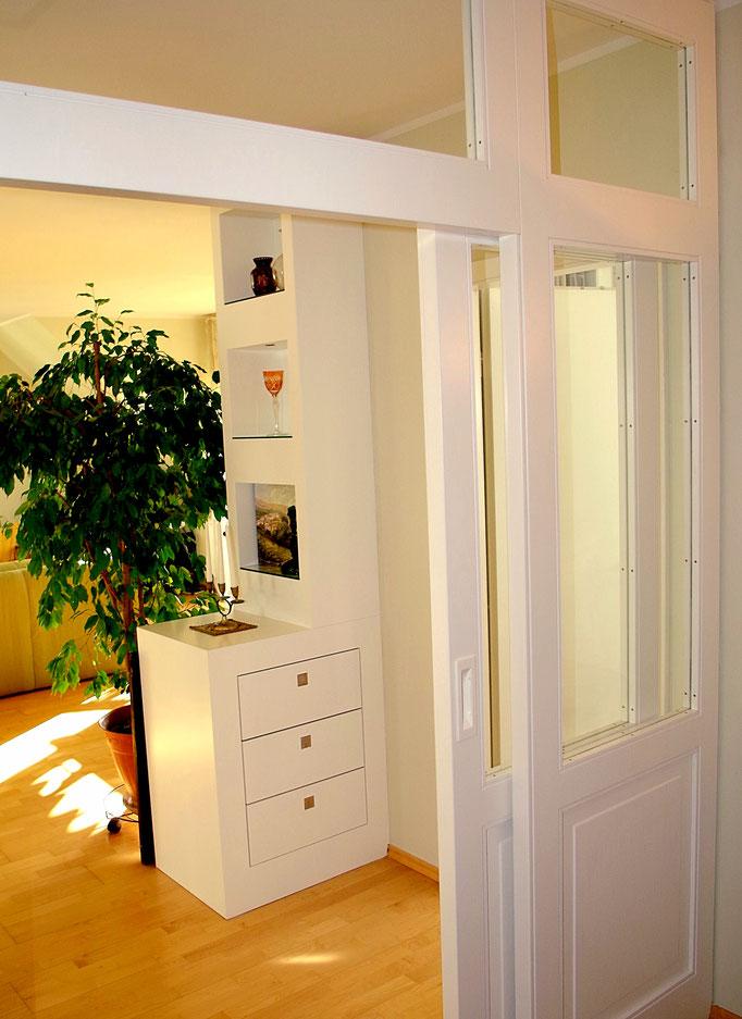 Einbauten im Eingangsbereich, Innenarchitekt Rolf Kullmann, Atelier Feynsinn Köln Mülheim
