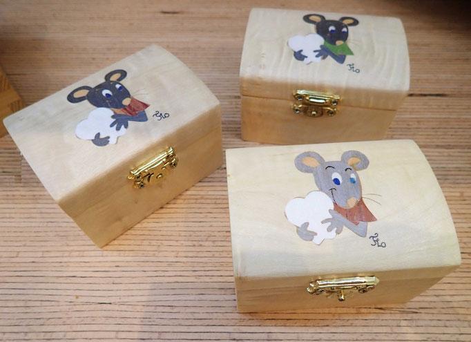 Boite à dents de lait Petite souris  - marqueterie - Atelier Eclats de Bois - 38 isère
