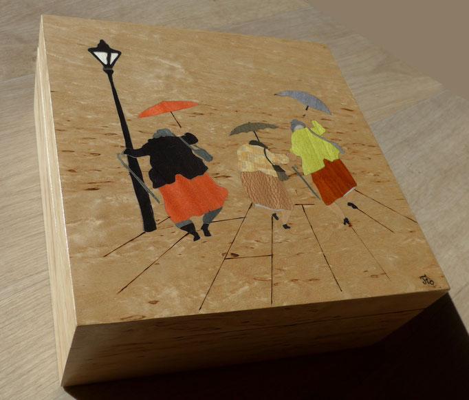 Boite Les mamies en folie  - marqueterie - Atelier Eclats de Bois - 38 isère