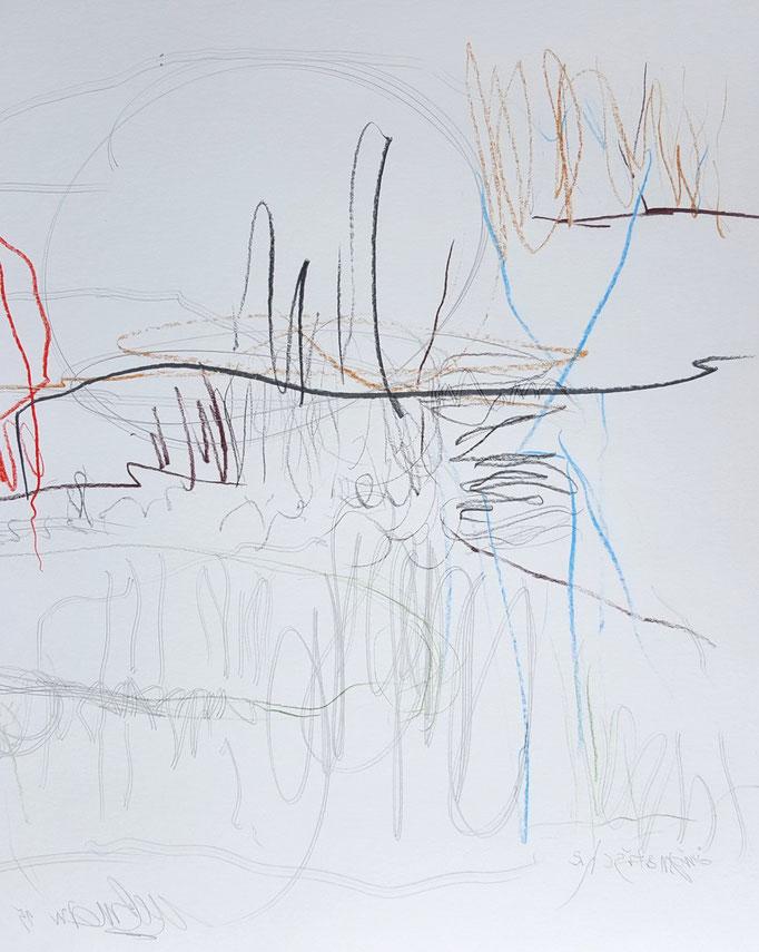 Änigmatisch 1; Blei- und Farbstift, Tusche, 35 x 50 cm, 2015
