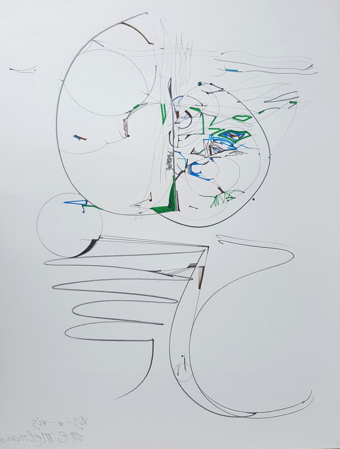 Vis-a-vis; Blei- und Farbstift, 48 x 61 cm, 2010