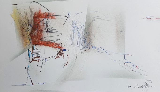 Ohne Titel; Blei- und Farbstift, Ölkreide, 50 x 32 cm, 2010