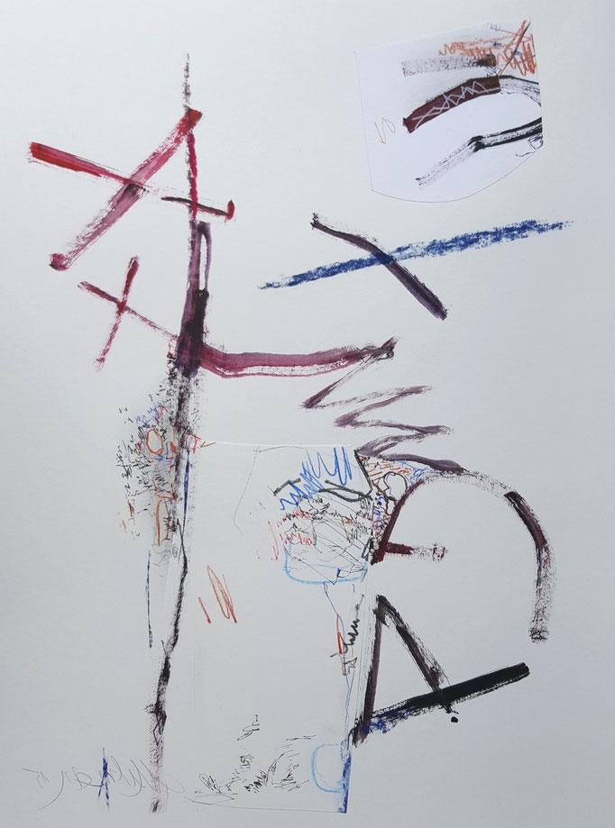 Ohne Titel; Blei- und Farbstift, Ölkreide, 48 x 68 cm, 2011