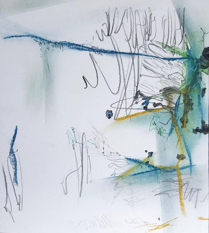 Ohne Titel; Bleistift, Ölkreide, Tusche; 45 x 50 cm, 2015