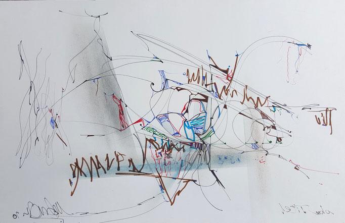 Ohne Titel; Blei- und Farbstift, Kreide, 50 x 29 cm, 2010