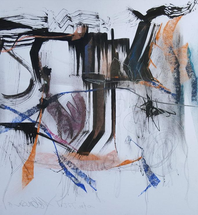 Ohne Titel; Bleistift, Tusche, Ölkreide, 45 x 50 cm, 2015