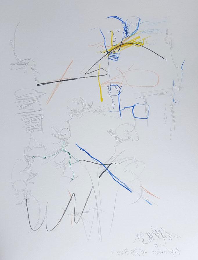 Geheimnis auf Berg Athos 2; Blei- und Farbstift, 50 x 65 cm, 2015