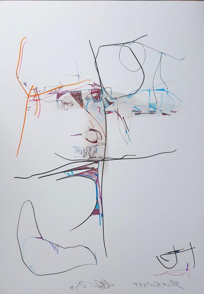 Blickkontakt; Blei- und Farbstift, Ölkreide, 48 x 68 cm, 2011
