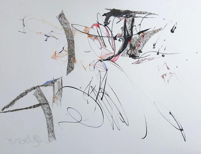 Komposition; Blei- und Farbstift, Ölkreide, 48 x 68 cm, 2010