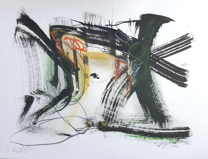 Ohne Titel; Bleistift, Ölkreide, Tusche; 65 x 50 cm, 2015