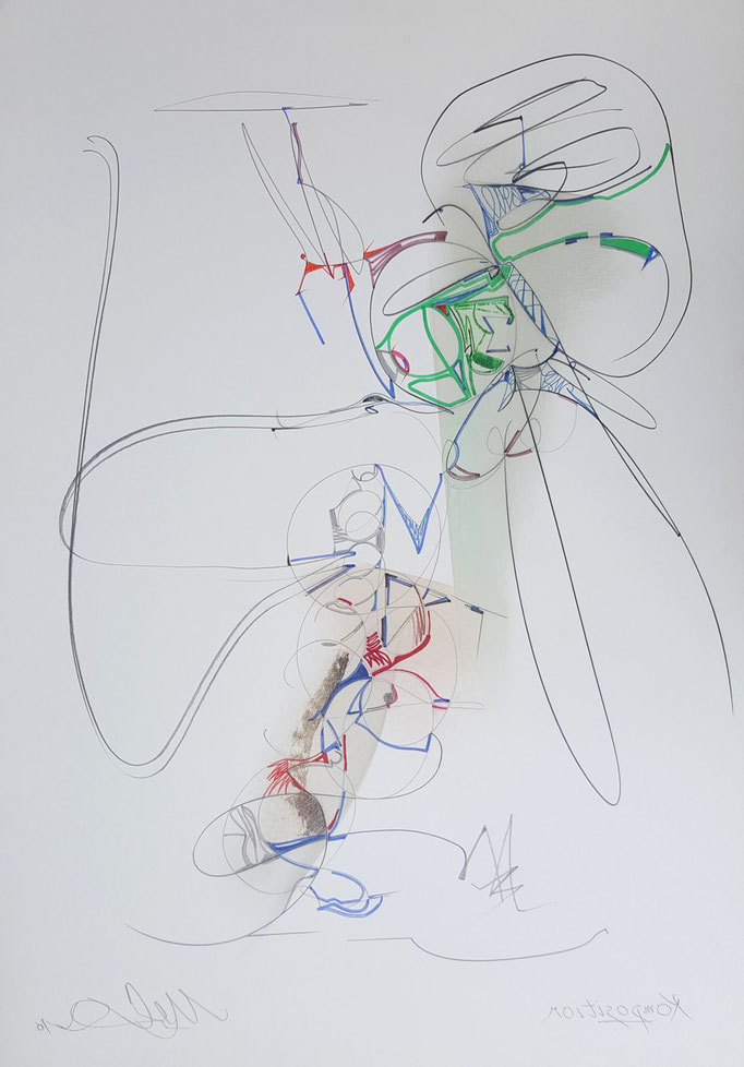 Ohne Titel; Tusche, Bleistift, Kreide, 65 x 50 cm, 2015