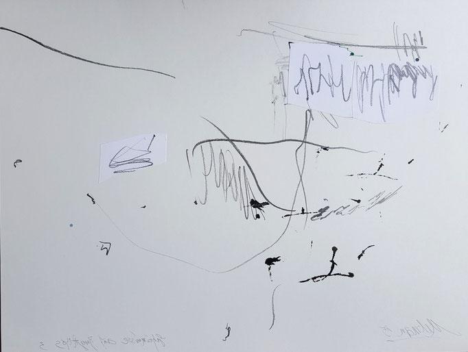 Geheimnis auf Berg Athos 3; Collage, Blei- und Farbstift, 65 x 50 cm, 2015