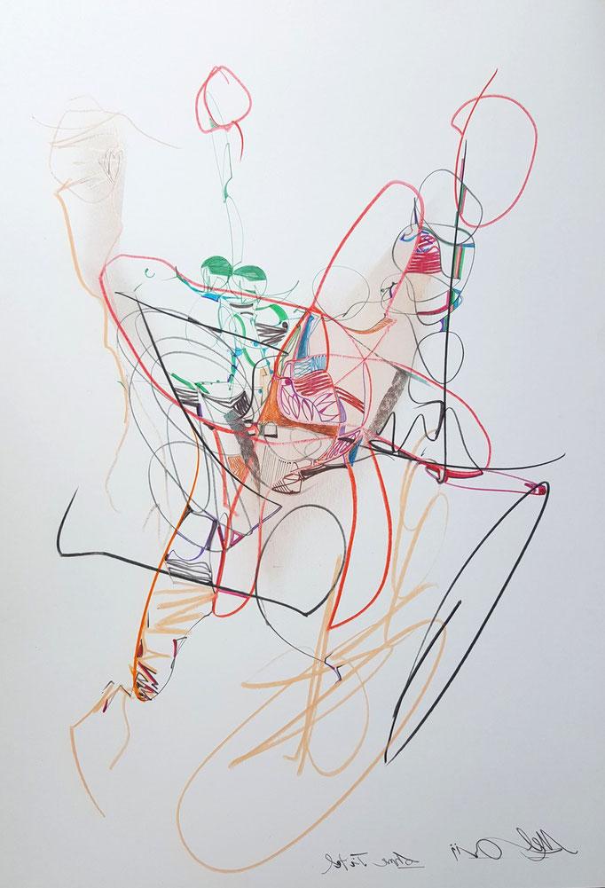 Ohne Titel; Blei- und Farbstift, Kreide, 50 x 65 cm, 2015