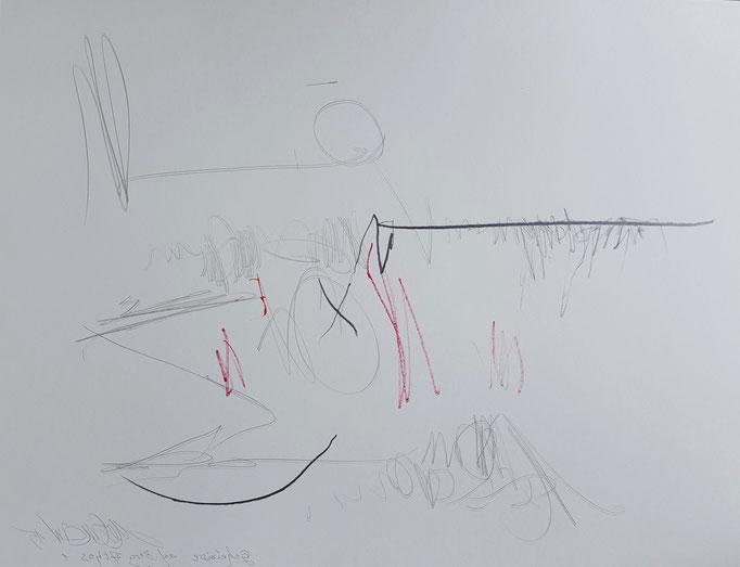 Geheimnis auf Berg Athos 1; Blei- und Farbstift, 65 x 50 cm, 2015