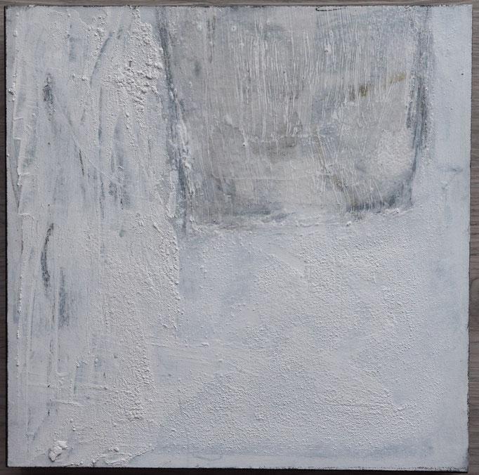 White 4, 2019, 30x30, Mischtechnik auf Holzkörper