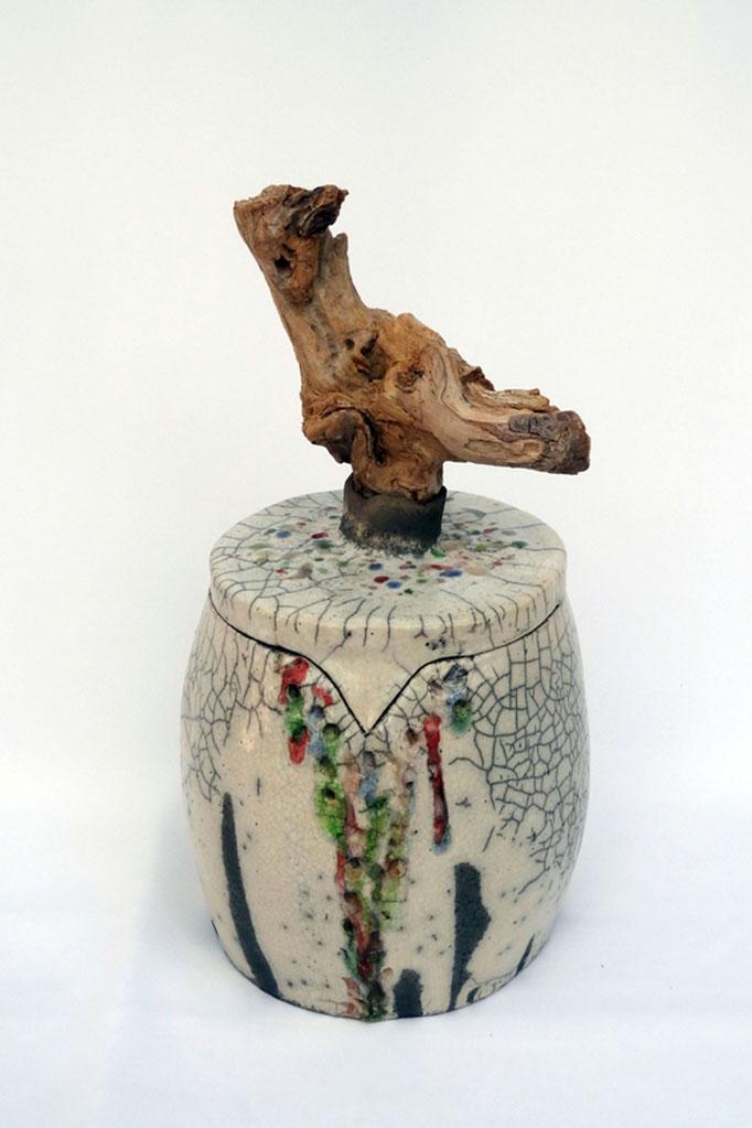 Keramikschatulle | Keramik Raku Glas Holz | 32 cm