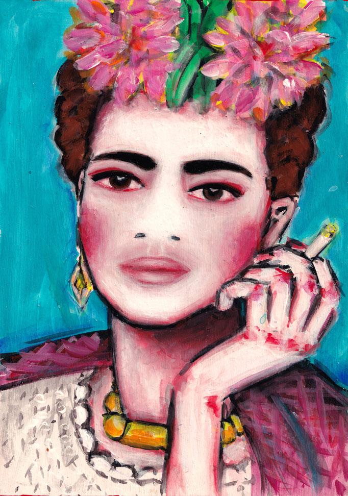 Frida mit Blumen, A4