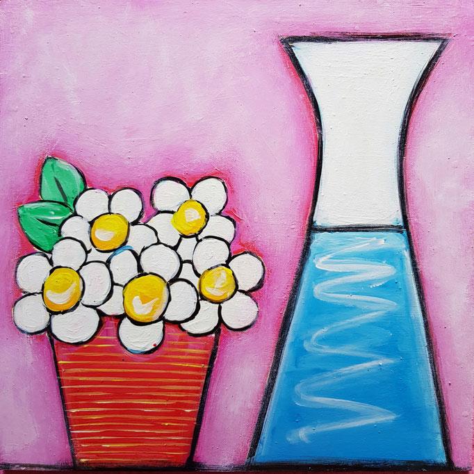 Blumen mit Karaffe, 30x30cm, 100Fr.