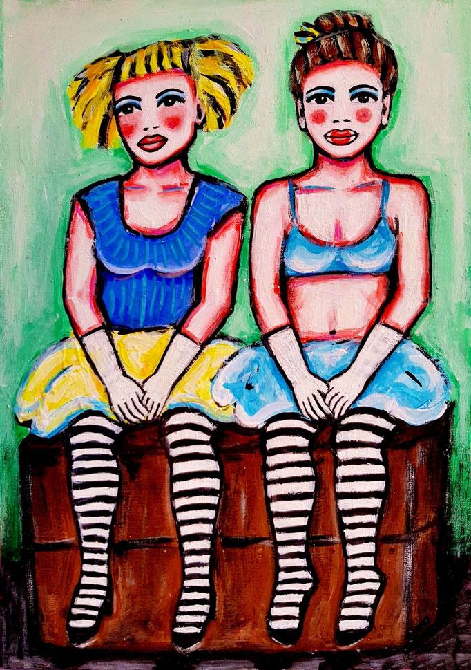 Zwei Zirkusmädchen, Vorlage: Brian Larter, A4.