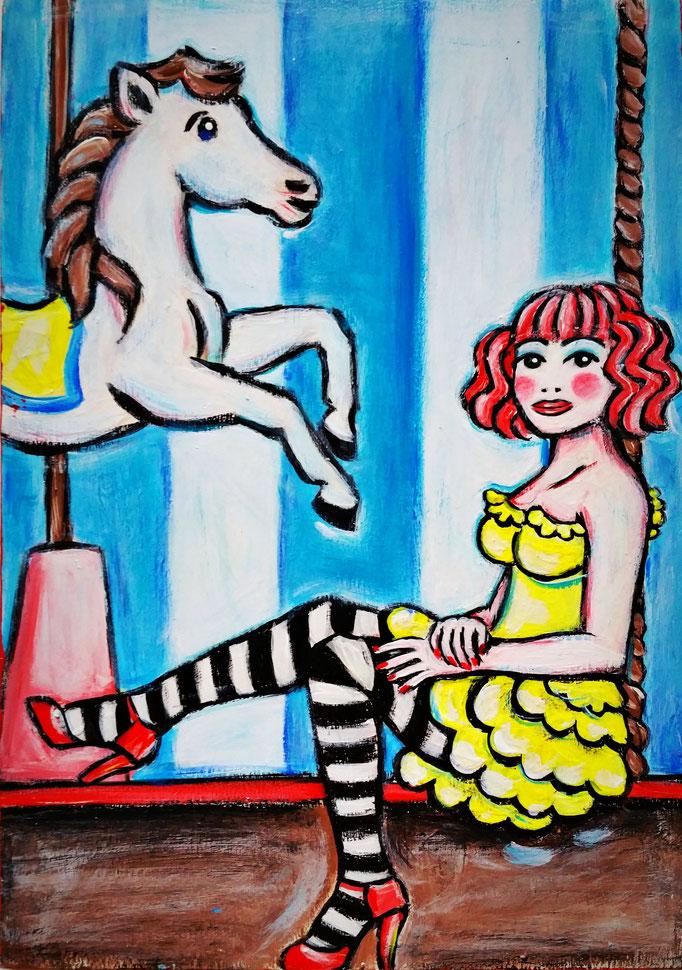 Karussellgirl, Vorlage: Kiki Beguin, A4, 600Fr.