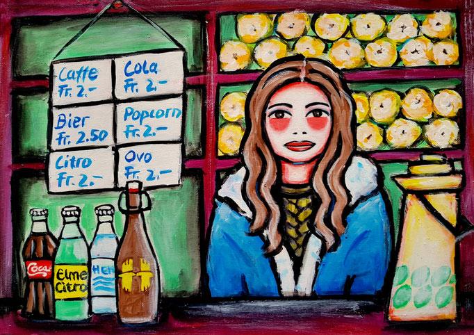 Kioskfrau, Vorlage: Martin Linsi, A4, 500Fr.