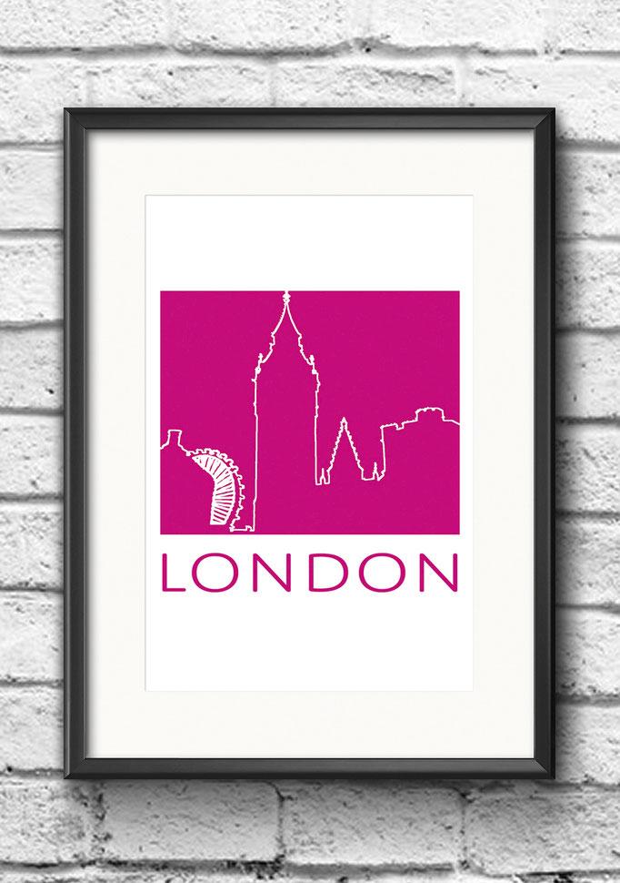 Modernes Wandbild Poster London London Eye Big Ben Kontur Pink