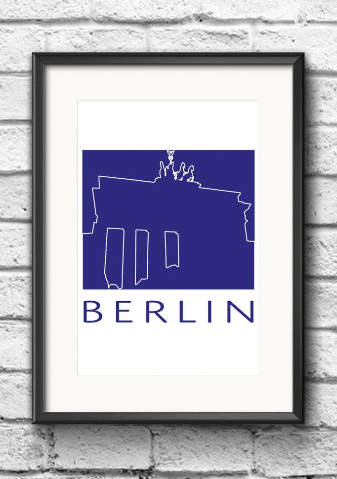 Modernes Wandbild Poster Berlin Brandenburger Tor Kontur Blau