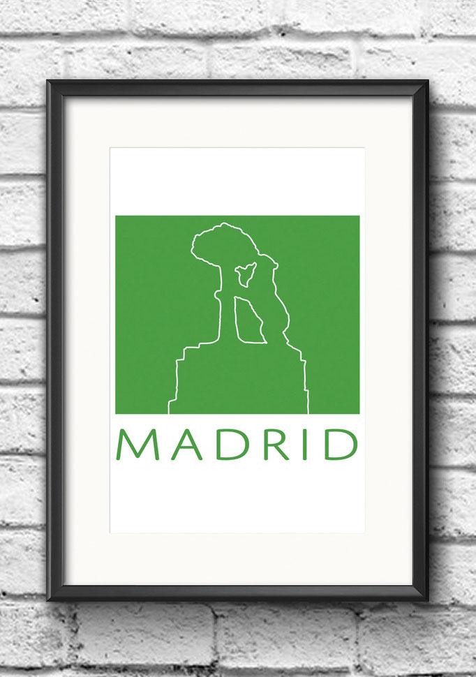Modernes Wandbild Poster Madrid Bär Erdbeerbaum Kontur Gruen