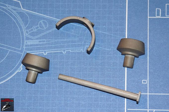 DeAgostini Bau deinen X-Wing Ausgabe 4 Laserkanone: Emitter, Spitze, Rückstoßdämpfer, Rückstoßdämpfer-Halterung (Kunststoff)