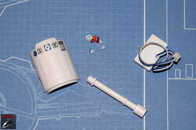 DeAgostini Bau deinen X-Wing Ausgabe 4 R2-D2: Kopfspindel, Rückenplatte, Bodenkontakt, Linsen (Kunststoff)