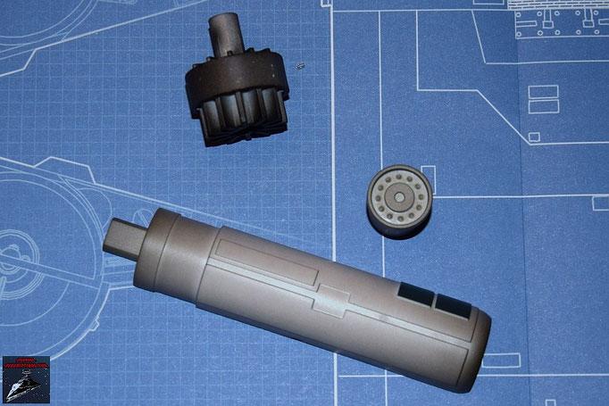 DeAgostini Bau deinen X-Wing Ausgabe 3 Laserkanone Gehäuse und vorderes und hinteres Endstück (Kunststoff)