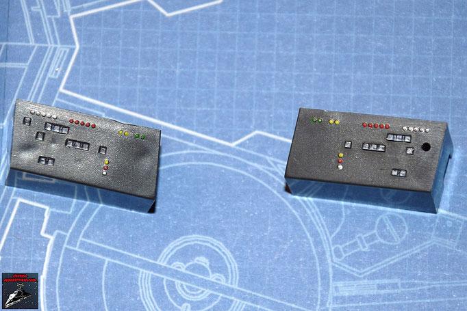 DeAgostini Bau deinen X-Wing Ausgabe 5 Die Lcihter werden von unten an den Instrumententafeln befestigt