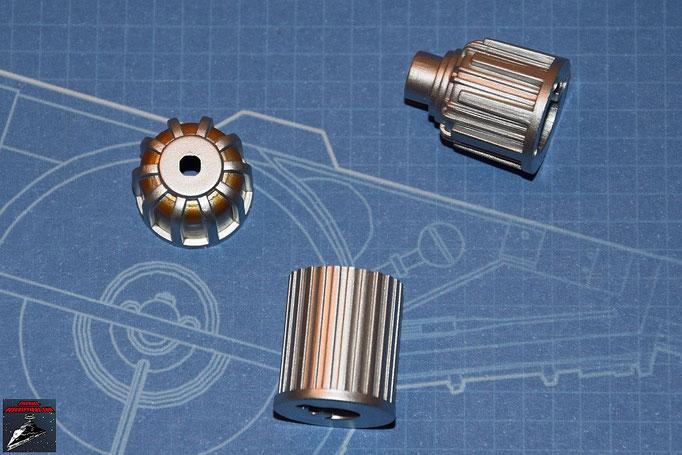 DeAgostini Bau deinen X-Wing Ausgabe 2 Vordes Endstück, Mittelstück und hinteres Endstück des Lasergenerators (Kunststoff)