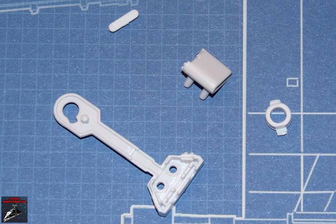 DeAgostini Bau deinen X-Wing Ausgabe 3  Innenseite rechtes Bein, Beingelenk, Energiespeicher und Energiespeicher-Abdeckung R2-D2 (Kunststoff)