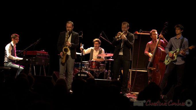 Julian Caetano, Régis Ferrante, Guillaume Gardey de Soos, Thomas Doméné, Matthis Pascaud; Les Métropolitains, Festival JAZZ360 2013, Cénac. 08/06/2013
