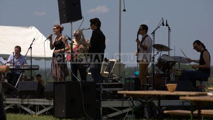 Vincent Madelmont, Elodie Hurtaud, Jean-Luc Peon, Gaël Lafleuriel, Julien Paoletti, Thierry Tassaing; Mil&Zim Jazz, Festival JAZZ360 2014, Quinsac. 08/06/2014