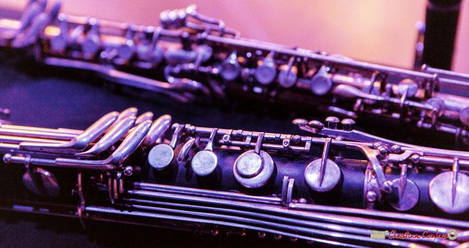 Clarinette basse (avant), clarinette alto métal (arrière) de Fred Pouget. Festival JAZZ360 2018, Cénac. 09/06/2018