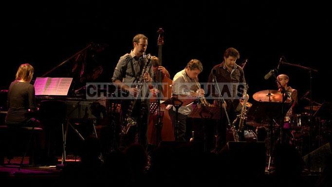 Festival JAZZ360 2014, Anne Quillier, Pierre Horckmans, Aurélien Joly, Grégory Sallet, Guillaume Bertrand; Anne Quillier Sextet, Cénac. 07/06/2014
