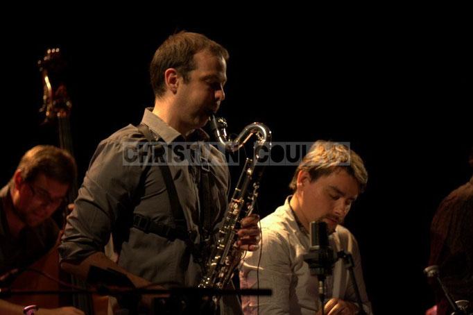 Festival JAZZ360 2014, Pierre Horckmans, Aurélien Joly; Anne Quillier Sextet, Cénac. 07/06/2014