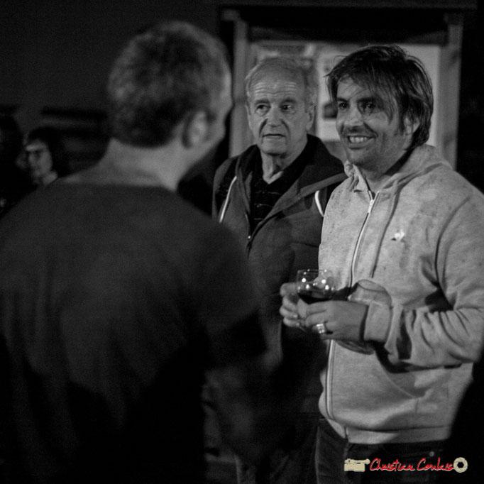 Laurent Vanhée, contrebassiste (de dos); Claude Bourgeyx, écrivain; Vincent Bourgeyx, pianiste; Festival JAZZ360 2018, Cénac. 09/06/2018